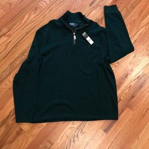 Ralph Lauren polo with suede zip detail